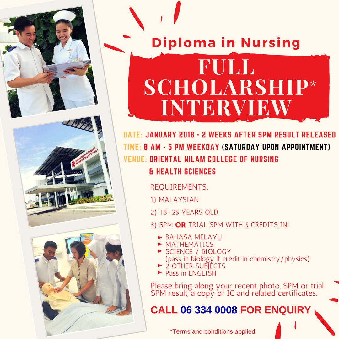 MORE THAN 80 FULL SCHOLARSHIPS TO GRAB! APPLY DIPLOMA IN NURSING NOW